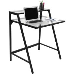 Lumisource 2-Tier Computer Desk, 35 1/2in.H x 31in.W x 23 1/2in.D, Black/Clear