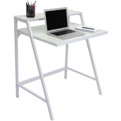 Lumisource 2-Tier Computer Desk, 35 1/2in.H x 31in.W x 23 1/2in.D, White/Clear