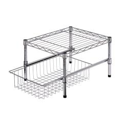 Honey-Can-Do Adjustable Cabinet Organizer With Shelf And Basket, 11in.H x 14 3/4in.W x 17 3/4in.D, Chrome