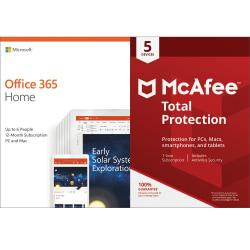 Microsoft Office 365 Home- McAfee Total Protection 5 Device Bundle, Download Version