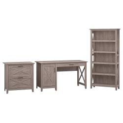 Bush Furniture Key West 54in.W Computer Desk With Storage, 2 Drawer Lateral File Cabinet And 5 Shelf Bookcase, Washed Gray, Standard Delivery