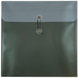 JAM Paper(R) Plastic Poly Envelopes With Button And String Closure, 13in. x 13in., Metallic Dark Green, Pack Of 12