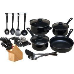 Gibson Home Kitchen 32 Piece Chef Du Jour Cookware Set, Black