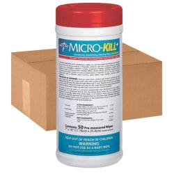 Micro-Kill+ Disinfectant Wipes, 7in. x 10in., 50 Wipes Per Canister, Case Of 12 Canister