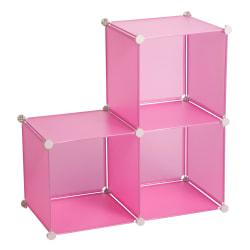 Honey-Can-Do Modular Polypropylene Storage Cubes, 14in.H x 28in.W x 28in.D, Translucent Pink, Pack Of 3