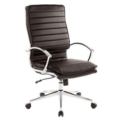 Office Star(TM) Pro-Line II(TM) SPX Series Bonded Leather High-Back Chair, Black/Chrome