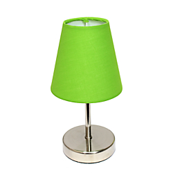 Simple Designs Mini Basic Table Lamp, 10in., Green Shade/Sand Nickel Base