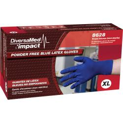 DiversaMed 8mil High-Risk EMS Exam Glove - X-Large Size - Latex - Blue - Beaded Cuff, Disposable, Powder-free, Non-sterile, Liquid Resistant, Heavyweight - For