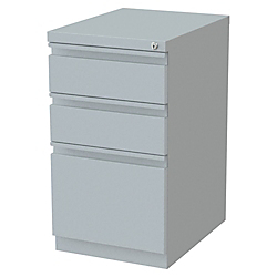 Lorell(R) 19 7/8in.D Mobile Letter-Size Pedestal File Cabinet, Box/Box/File, Platinum
