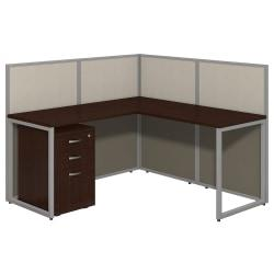 "Bush Business Furniture Easy Office L-Desk Open Office With 3-Drawer Mobile Pedestal, 44 15/16""H x 60 1/16""W x 60 1/16""D, Mocha Cherry"