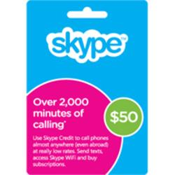 Skype Prepaid eCard 50USD , Download Version