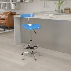 Flash Furniture Vibrant Drafting Stool, Bright Blue/Chrome