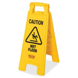 Rubbermaid Commercial Caution Wet Floor Safety Sign - 6 / Carton - Caution Wet Floor Print/Message - 11in. Width x 25in. Height - Rectangular Shape - Red, Black