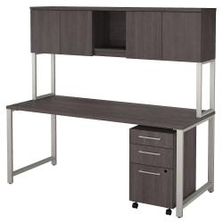 Bush Business Furniture 400 Series Table Desk With Hutch And 3 Drawer Mobile File Cabinet, 72in.W x 30in.D, Storm Gray, Premium Installation