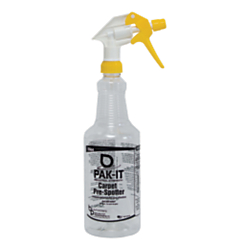 Big 3 Packaging PAK-IT Spray Bottle, Carpet Prespotter Industrial-Strength Cleaner, 32 Oz, Yellow/Clear