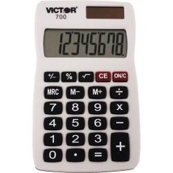 Victor 700 8-Digit Pocket Calculator - 4 Functions - Large LCD, Easy-to-read Display, Rubber Keytop, Dual Power - 8 Digits - LCD - Battery/Solar Powered - 0.3in
