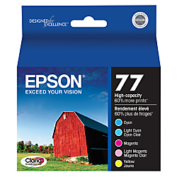 Epson(R) 77, (T077920) Claria(R) Hi-Definition High-Capacity Color Ink Cartridges, Pack Of 5