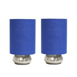 Simple Designs Gemini Mini Touch Table Lamps, 9in.H, Blue Shade/Brushed-Nickel Base, Set Of 2