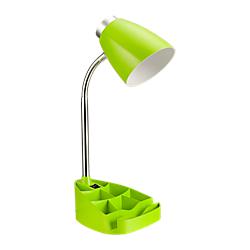LimeLights Gooseneck Organizer Desk Lamp, 17 1/4in.H, Green Shade/Green Base