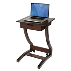 Realspace (R) Costal Ridge Laptop Cart, 30 5\/16in.H x 22 1\/4in.W x 21in.D, Mahogany
