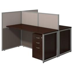 Bush Business Furniture Easy Office 60in.W 2-Person Straight Desk Open Office With Two 3-Drawer Mobile Pedestals, 44 15/16in.H x 60 1/16in.W x 60 1/16in.D, Moch