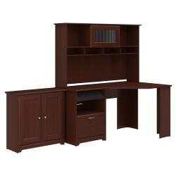 Bush Furniture Cabot Corner Desk With Hutch And Small Storage Cabinet With Doors, Harvest Cherry, Standard Delivery