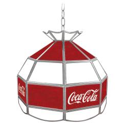 Trademark Global Vintage 1-Light Hanging Tiffany Lamp, Large Logo, 16in.H, Red Coca-Cola Shade