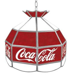 Trademark Global Vintage 1-Light Hanging Tiffany Lamp, Small Logo, 16in.H, Red Coca-Cola Shade