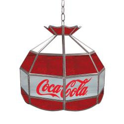 Trademark Global Vintage 1-Light Hanging Tiffany Lamp, 16in.H, Gray/Red/White Coca-Cola Shade