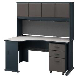 Bush Business Furniture Office Advantage Left Corner Desk With Hutch And Mobile File Cabinet, Slate/White Spectrum, Standard Delivery