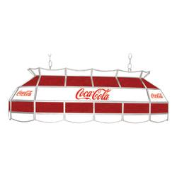 Trademark Global Vintage 3-Light Hanging Tiffany Lamp, 15in.H, Red/White Coca-Cola Shade