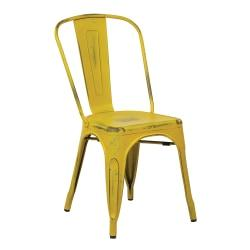 Office Star(TM) Bristow Armless Chair, Antique Yellow With Blue Specks, Set Of 4 Chairs