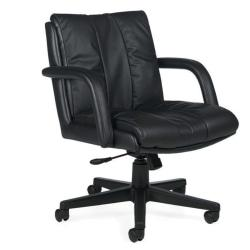 Global(R) Troy(R) Low-Back Leather Tilter Chair, 35in.H x 26 1/2in.W x 30in.D, Black Frame, Black Leather