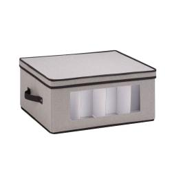 Honey-Can-Do Large Stemware Storage Chest, 18 3/8in.L x 13 7/8in.W x 8 1/2in.H, Black/Gray