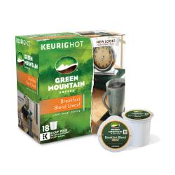 Green Mountain Coffee(R) Breakfast Blend Decaffeinated Coffee K-Cups(R), Box Of 18