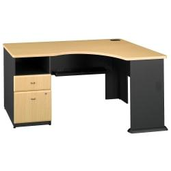 Bush Advantage Work At Home Expandable Corner Office Desking Solution, Beech, Standard Delivery Service
