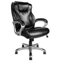 Realspace(R) EC620 Executive High-Back Chair, Black/Silver