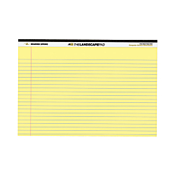 Roaring Spring Wide Landscape Canary Writing Pads - 40 Sheets - 0.28in. Ruled - 20 lb Basis Weight - 11in. x 9 1/2in. - Canary Paper - Recycled - 1Each