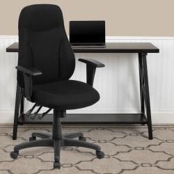 Flash Furniture Fabric High-Back Multifunctional Ergonomic Swivel Chair With Adjustable Armrests, Black