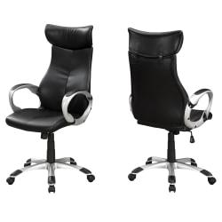 Monarch Specialties High-Back Office Chair, Black/Silver