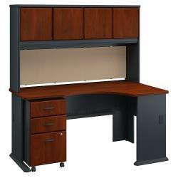 Bush Business Furniture Office Advantage Right Corner Desk With Hutch And Mobile File Cabinet, Hansen Cherry/Galaxy, Premium Installation