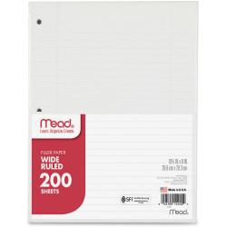 Office Depot(R) Brand Notebook Filler Paper, Wide-Ruled, 8in. x 10 1/2in, 3-Hole Punched, White, Pack Of 200