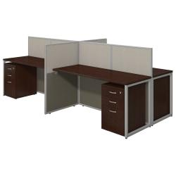 Bush(R) Business Furniture Easy Office 4-Person Straight Desk Open Office With Four 3-Drawer Mobile Pedestals, 44 7/8in.H x 60 1/25in.W x 119 9/100in.D, Mocha C
