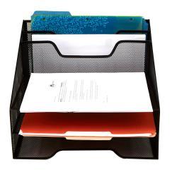 Mind Reader 5-Compartment Mesh Organizer, 9 1/8in.H x 12 1/2in.W x 11in.D, Black