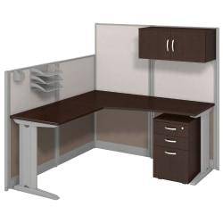 Bush Business Furniture Office In An Hour L Workstation With Storage Accessory Kit, Mocha Cherry Finish, Premium Delivery