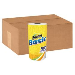 Bounty(R) Basic 1-Ply Paper Towels, 10 1/5in. x 11in., White, 44 Sheets Per Roll, Case Of 30 Rolls