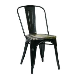 Office Star(TM) Bristow Armless Chairs with Wood Seats, Ash Crazy Horse/Black, Set Of 2 Chairs
