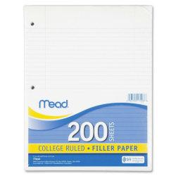 Mead Notebook Filler Paper - 200 Sheets - Printed - Spiral - 16 lb Basis Weight - Letter 8.50in. x 11in. - White Paper - 200 / Pack