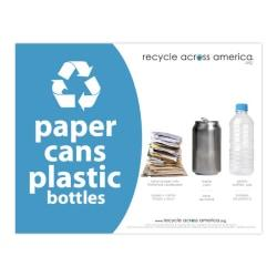 Recycle Across America Paper, Cans And Plastic Standardized Recycling Label, PCP-8511, 8 1/2in. x 11in., Light Blue