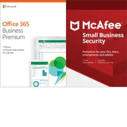 Microsoft Office 365 Business Premium- McAfee Small Business Security Bundle, Download Version